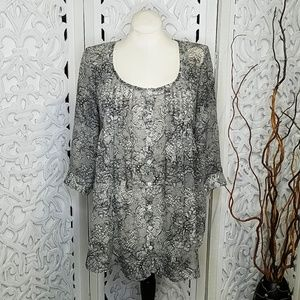 Xhilaration  Sheer Pleated Button Down Tunic Top L
